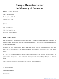 """Sample """"Donation Letter in Memory of Someone"""""""