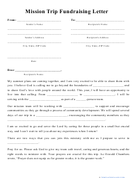 """""""Mission Trip Fundraising Letter Template"""""""