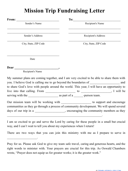 """""""Mission Trip Fundraising Letter Template"""" Download Pdf"""