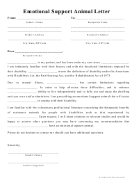 """""""Emotional Support Animal Letter Template"""""""
