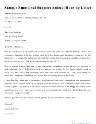 "Sample ""Emotional Support Animal Housing Letter"""