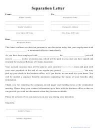 """""""Separation Letter Template"""""""