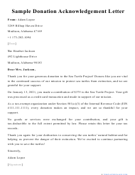 "Sample ""Donation Acknowledgement Letter"""