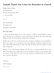 """Sample """"Thank You Letter for Donation to Church"""""""