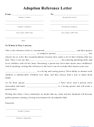 """""""Adoption Reference Letter Template"""""""