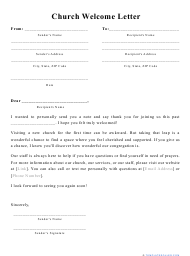 """""""Church Welcome Letter Template"""""""