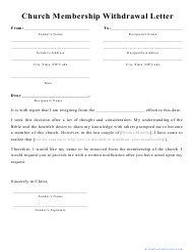 """Church Membership Withdrawal Letter Template"""