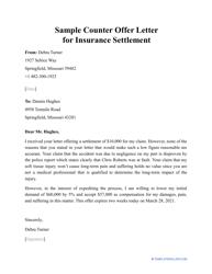 """Sample """"Counter Offer Letter for Insurance Settlement"""""""