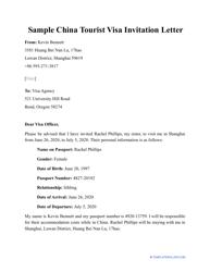 """Sample """"China Tourist Visa Invitation Letter"""""""
