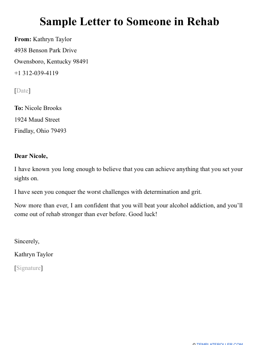 """Sample """"Letter to Someone in Rehab"""" Download Pdf"""
