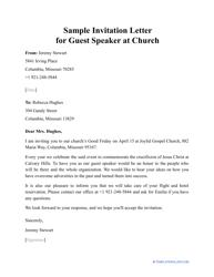 "Sample ""Invitation Letter for Guest Speaker at Church"""
