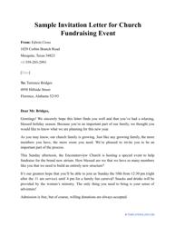"Sample ""Invitation Letter for Church Fundraising Event"""