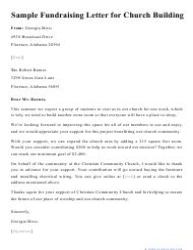 "Sample ""Fundraising Letter for Church Building"""