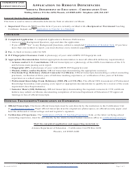 """""""Application to Remove Deficiencies"""" - Arizona"""