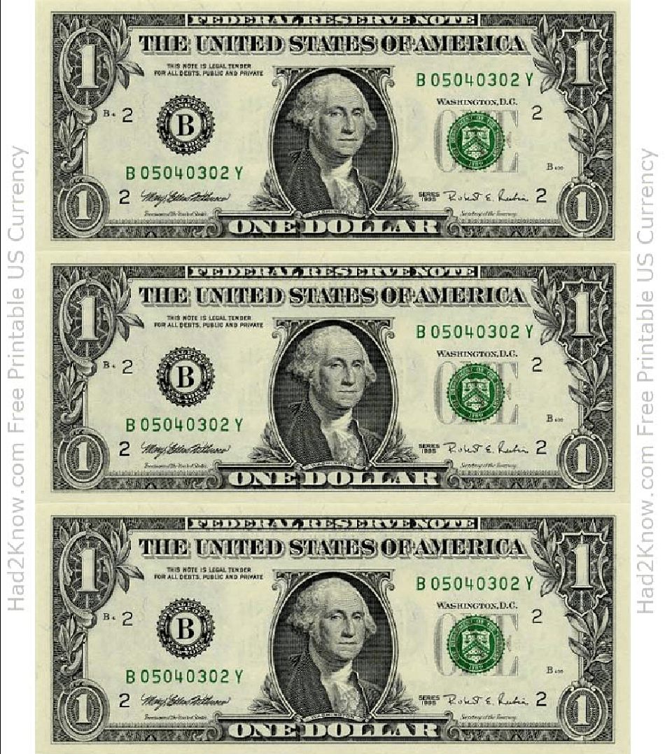 One Dollar Bill Template Front Download Printable Pdf Templateroller