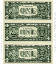 """One Dollar Bill Template - Back"""