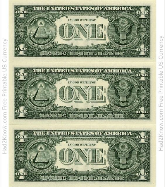 """One Dollar Bill Template - Back"" Download Pdf"