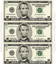 """Five Dollar Bill Template - Front"""