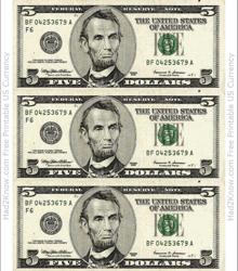 """Five Dollar Bill Template - Front"""