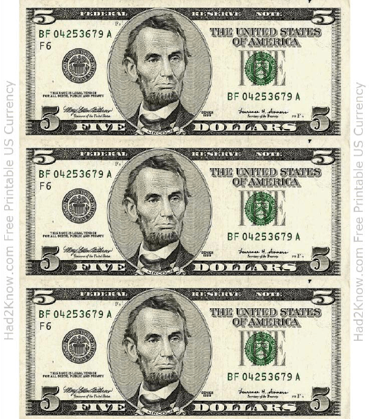 Five Dollar Bill Template Front Download Printable Pdf