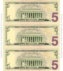 """Five Dollar Bill Templates - Back"""