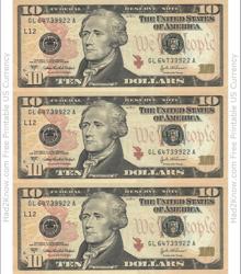 """""""Ten Dollar Bill Template - Front"""""""
