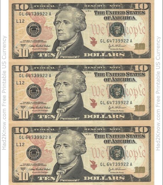 """Ten Dollar Bill Template - Front"" Download Pdf"