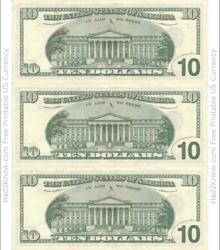 """Ten Dollar Bill Template - Back"""