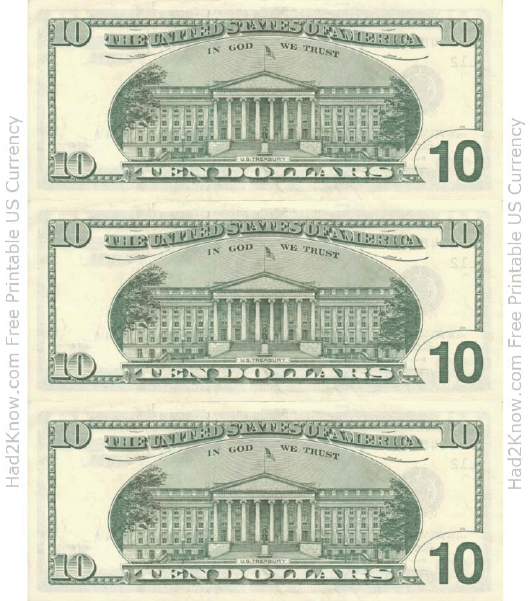 """Ten Dollar Bill Template - Back"" Download Pdf"