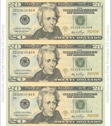 """Twenty Dollar Bill Template - Front"""