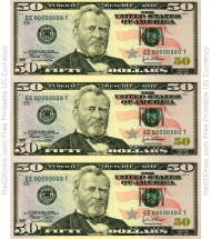 """Fifty Dollar Bill Template - Front"""