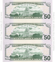 """Fifty Dollar Bill Templates - Back"""