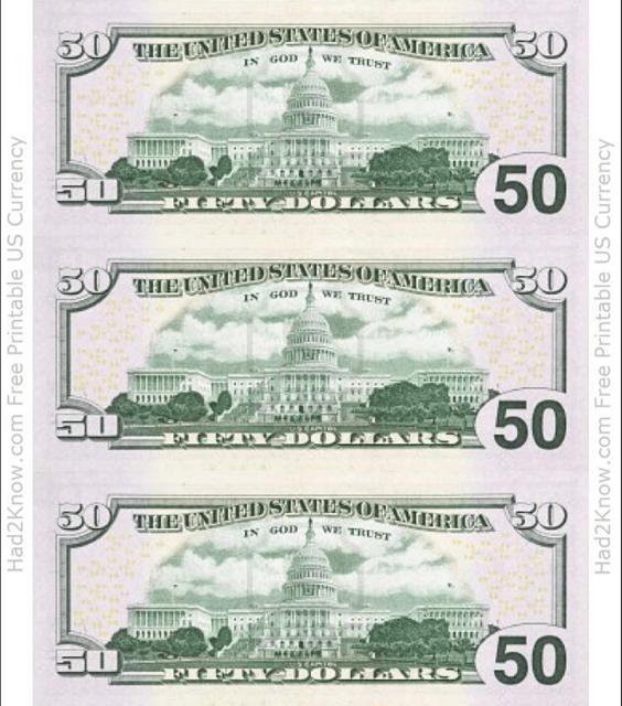 """Fifty Dollar Bill Templates - Back"" Download Pdf"