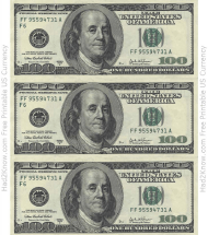 """One Hundred Dollar Bill Template - Front"""
