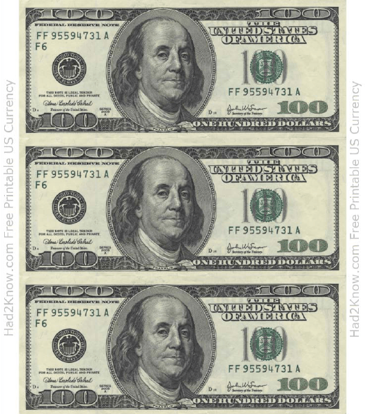 picture about Printable 100 Dollar Bill Front and Back known as 1 Hundred Greenback Monthly bill Template - Entrance Down load Printable