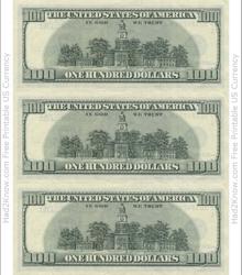 """One Hundred Dollar Bill Template - Back"""