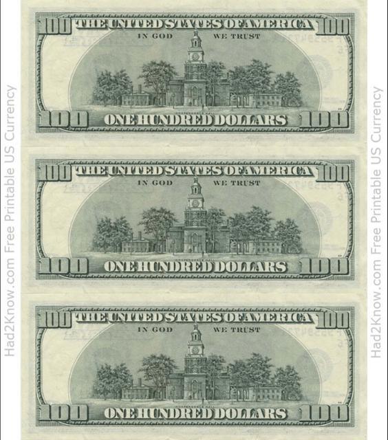"""One Hundred Dollar Bill Template - Back"" Download Pdf"