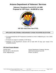 """Proposal for Vdf Grant - $4,999.99 or Less"" - Arizona, 2022"
