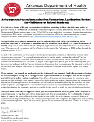 """Arkansas Immunization Exemption Application for Childcare or School Students"" - Arkansas, 2022"