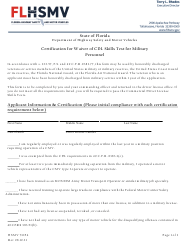 """Form HSMV71054 """"Certification for Waiver of Cdl Skills Test for Military Personnel"""" - Florida"""
