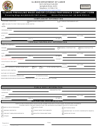 """Form IL452CM04 """"Illinois Prevailing Wage and/or Citizens Preference Complaint Form"""" - Illinois"""