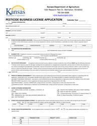 """""""Pesticide Business License Application"""" - Kansas"""