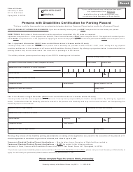 """Form VSD62 """"Persons With Disabilities Certification for Parking Placard"""" - Illinois"""