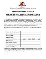 """""""Return of '""""unused'"""" Leave Bank Leave"""" - Maryland"""