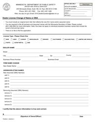 """Form PS2903 """"Dealer License Change of Name or Dba"""" - Minnesota"""