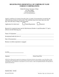 """Registration or Renewal of Corporate Name Foreign Corporations"" - Nebraska"