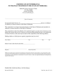 """Certificate of Withdrawal to Transact Business in the State of Nebraska"" - Nebraska"