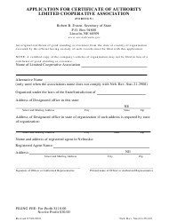 """""""Application for Certificate of Authority Limited Cooperative Association (Foreign)"""" - Nebraska"""