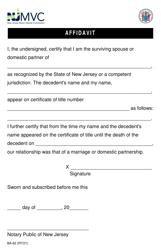 "Form BA-62 ""Affidavit"" - New Jersey"
