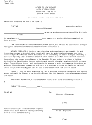 """Form BF-2 """"Securities Licensee's Blanket Bond"""" - New Mexico"""